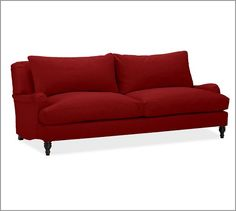 Carlisle Upholstered Grand Sofa, Down-Blend Wrap Cushions, Twill Sierra Red
