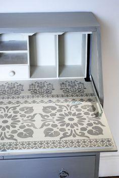 Painted writing bureau with stencilled desk. #stencils #paintedfurniture #nicolettetabramstencils nicolettetabram.co.uk