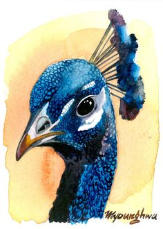 ACEO Limited Edition 2/10- Brilliant Bird, in watercolor. $4.00, via Etsy.