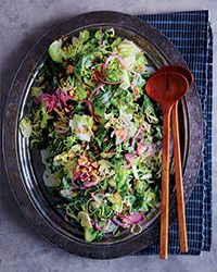 Brussels sprouts and escarole make for a wonderfully hearty salad; the tangy buttermilk dressing keeps it light and flavorful.