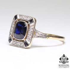 ANTIQUE-ART-DECO-18K-GOLD-DIAMOND-SAPPHIRE-RING