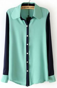 Mint Green Lapel Contrast Long Sleeve Chiffon Blouse. Love this top!