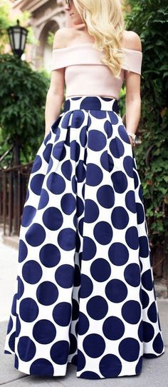 Navy Polka Dot Maxi Skirt ❤︎                              …