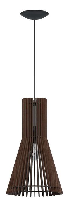 """Pendat w/ Matte Nickel Finish & Dark Brown Wood Shade in Down Pendants, style - Contemporary, by Eglo, finish - Nickel, family - Atenza""""> Brown Wood, Dark Brown, Nickel Finish, It Is Finished, Shades, Ceiling Lights, Contemporary, Lighting, Home Decor"""