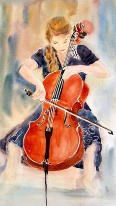 2014 Watercolor Art Show - Page 3 - WetCanvas Arte Cello, Cello Art, Music Drawings, Art Drawings, Visual And Performing Arts, Music Illustration, Art Music, Artist Art, Oeuvre D'art