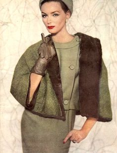 Lucinda Hollingsworth in a mink lined wool jacket worn over a sage green wool jersey suit, photo by Karen Radkai, 1959