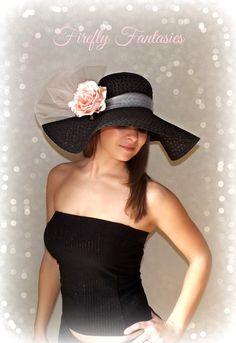 Pink Rose - Black Floppy Hat Light Pink Flower Kentucky Derby Garden Party  or Weddings wide brim straw hat beach Bridal Shower dcd3f4ea0ec