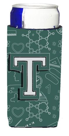 Letter T Back to School Initial Ultra Beverage Insulators for slim cans CJ2010-TMUK