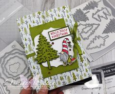 Nicole Wilson Independent Stampin' Up!® Demonstrator - Had a go at Lou Kitzelmans Acetate Diorama Box Card tutorial and teamed it up with Just Add Ink and Christmas Craft Creations challenges this week using the In the Pines and Gnome for the Holidays Stampsets #gnomes #inthepines #pinewoods #acetatedioramaboxcard #JAI516 #christmas #christmascraftcreations #thedimensionals #3dtutorialsbythedimensionals #stampinup #nicolewilson
