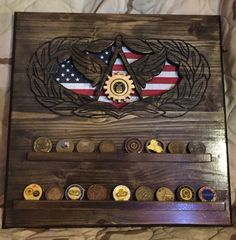 Shadowbox Ideas, Military Shadow Box, Challenge Coin Display, Military Challenge Coins, Master Sergeant, Rotc, What To Make, Retirement Gifts, Wood Working