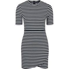 TOPSHOP PETITE Stripe Wrap Bodycon Dress ($50) ❤ liked on Polyvore featuring dresses, monochrome, petite, topshop dresses, leather bodycon dress, petite wrap dress, petite dresses and body con dress