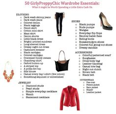Girly Preppy Chic Wardrobe.  I do believe you have every single thing on this list except the diamond and pearl studs and you can always borrow mine.