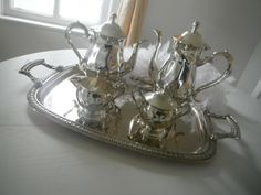 tea set shabby chic silver plated on steel coffee by ShabbyRoad, $65.00