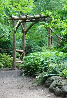 Rustic arbor leading into woodland garden