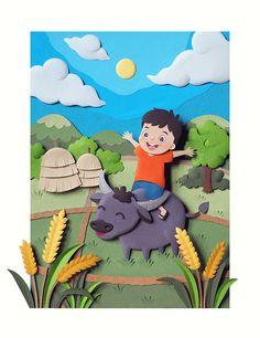 Paper Sculpture : A child in rice field by Wirin Chaowana, via Behance (Diy Paper Sculpture) 3d Paper Art, Paper Artwork, Diy Paper, Paper Crafts, Kirigami, Paper Cutting, Cardboard Sculpture, Paper Illustration, Clay Crafts