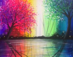 Rainbow Reflections - Friday, June 23rd from 7-9PM - Rainbows are rare, but once you see one in real life they elicit a sense of awe and delight. Creating this rainbow inspired painting will sure bring a smile to your face with these bright and cheery colors.