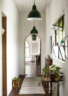 zielone metalowe lampy + rośliny w doniczkach