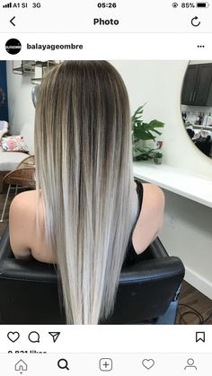 Cool-Toned brown and silver blonde balayage. pretty ombre balayage hairstyle for long hair, 2019 long hair color and haircuts Silver Blonde, Platinum Blonde Hair, Balayage Hair Blonde, Balayage Hairstyle, Ombre Balayage, Haircolor, Pretty Hairstyles, Straight Hairstyles, Everyday Hairstyles