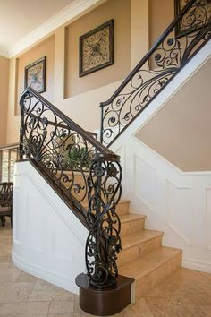 Beautiful staircase in Riverside home.