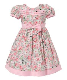 Pink Floral Bow Puff-Sleeve Dress - Infant