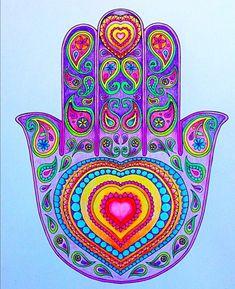 Hamsa Tattoo Design, Hamsa Hand Tattoo, Hamsa Art, Hamsa Design, Mandala Drawing, Mandala Art, Trippy Designs, Peace Sign Art, Paisley Art