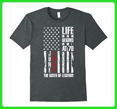 Mens 70th Birthday Gift Shirt Life Begins At 70 June 1947 T-Shirt XL Dark Heather - Birthday shirts (*Amazon Partner-Link)
