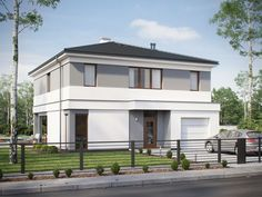 DOM.PL™ - Projekt domu SD Kartagina CE - DOM SD1-94 - gotowy koszt budowy Carthage, Stucco Homes, Small House Plans, House Colors, Home Projects, Sweet Home, New Homes, Mansions, House Styles