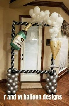 Ideas For Birthday Ideas Balloons New Years New Years Decorations, Balloon Decorations, Birthday Party Decorations, 21st Bday Ideas, Birthday Ideas, Champagne Balloons, Deco Ballon, Champagne Birthday, 60th Birthday Party