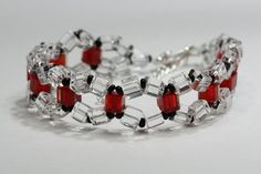 White and red bracelet with black elements by AGoodBead on Etsy, $10.00