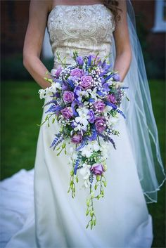 Florist The Orchid Room Wedding & Event Floral Design 26 incorporating some blush-colored blossoms and navy ribbon would be perfect! Lilac Wedding Flowers, Wedding Flower Guide, Cascading Wedding Bouquets, Wedding Flower Arrangements, Bride Bouquets, Flower Bouquet Wedding, Floral Wedding, Wedding Ideas, Marie