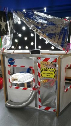 Space station we created in our reception class.the stars on the windows are very effective! Space Classroom, Classroom Displays, Classroom Themes, Reception Classroom Ideas, Space Preschool, Space Activities, Activities For Kids, Stem Activities, Dramatic Play Area
