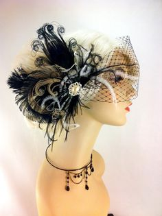 Feather Bridal Fascinator, Bridal Fascinator, Bridal Headpiece, Wedding Veil, Bridal Veil, Black and Ivory, Victorian Gothic Inspired