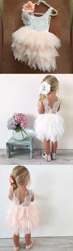 Pink Lace Tulle Flower Girl Dresses, Lovely Tutu Dresses, FGS003 #sposabridal#flowergirldresses