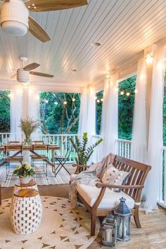 A back porch makeover with money-saving DIY home improvement projects and budget. A back porch makeover with money-saving DIY home improvement projects and budget decorating solutions for a breezy summer retreat. Outdoor Spaces, Outdoor Living, Outdoor Decor, Back Porch Makeover, Backyard Makeover, Boho Home, Decorating On A Budget, Screen Porch Decorating, Sunroom Decorating
