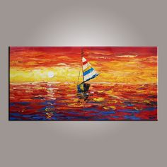 Contemporary Art On Canvas Boat Painting Modern PaintingPainting AbstractDining Room
