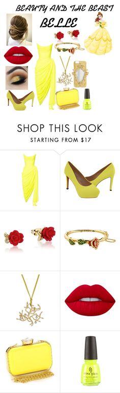 """Untitled #372"" by marieborrero ❤ liked on Polyvore featuring Oscar de la Renta, Disney, Lime Crime and China Glaze"