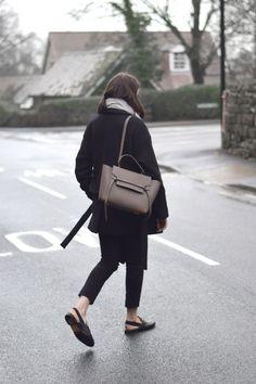 Celine Belt Bag Taupe and black/brown minimalist streetwear