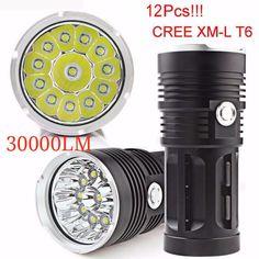 30000LM 12x CREE XM-L T6 LED Flashlight Torch 4x18650 Hunting Lamp Super Bright #onfine2009
