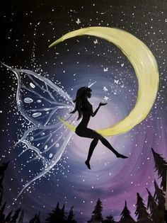 Join us for a Paint Nite event Mon Jul 2018 at 196 Mcewan Drive Bolton, ON. Purchase your tickets online to reserve a fun night out! Easy Canvas Painting, Moon Painting, Canvas Art, Fairy Silhouette, Silhouette Painting, Fairy Drawings, Cute Drawings, Fairy Wallpaper, Fairy Paintings