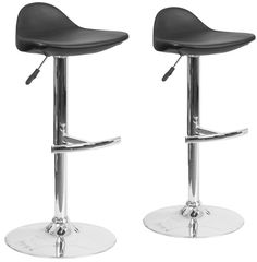 Featuring a sleek chrome pedestal and a comfy, padded vinyl seat that swivels, the Vinyl Adjustable Bar Stools from Flash Furniture add contemporary style to any décor. The adjustable height takes you from counter to bar and vice versa in a snap.