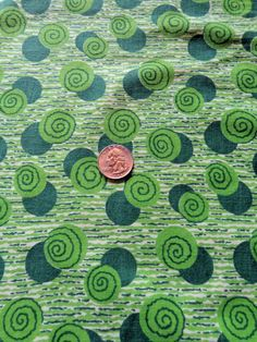 Lime Green Dots Vintage Flour Sack Quilt Doll Fabric Material Cotton Retro Swirl