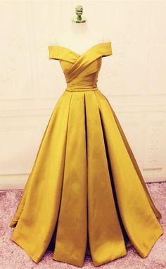 Gold Satin V-neck Off Shoulder Prom Dresses Long Evening Gowns