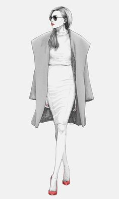 Fashion illustration - chic tailored outfit sketch // Alex Tang