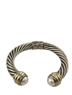 David Yurman Sterling Silver 14k Gold Pearl 10mm Cable Classics Bracelet