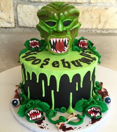 Goosebumps Cake! How awesome is this cake to bring to a Goosebumbs party!