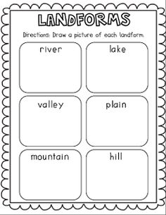 21 Landforms for Kids Activities and Lesson Plans - Landforms Freebie - Teach Junkie 3rd Grade Social Studies, Kindergarten Social Studies, Social Studies Worksheets, Social Studies Activities, Kindergarten Science, Teaching Social Studies, Elementary Science, Science Classroom, Teaching Science