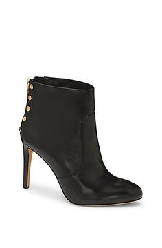 e633e889464314 VINCE CAMUTO BUSTELL- FLAT STUD HIGH HEEL BOOTIE. Black Leather ...