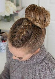 Three of Our Favorite Braided Updos Perfect for Brides Missy Sue's French & Lace Fishtail High Bun - September 21 2019 at High Bun Hairstyles, Dance Hairstyles, Box Braids Hairstyles, Hairstyles For School, Wedding Hairstyles, Teenage Hairstyles, Party Hairstyle, Spring Hairstyles, Cool Braids