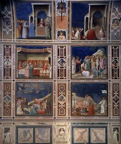 Fresco, Scrovegni Chapel, Padua, Italy, painted by Giotto Renaissance Time, Renaissance Kunst, Italian Painters, Italian Artist, Art Mural, Mural Painting, Tempera, Michelangelo, Fresco