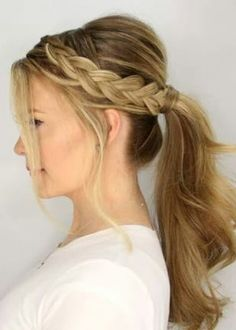 Side plait into a ponytail